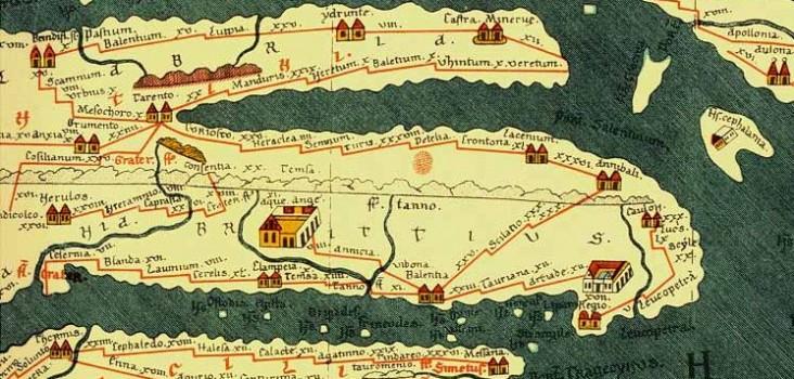 Die Tabula Peutingeriana, auch Peutingersche Tafel, ist eine kartografische Darstellung, die das römische Straßennetz (viae publicae) im spätrömischen Reich von den Britischen Inseln über den Mittelmeerraum und den Nahen Osten bis nach Indien und Zentralasien zeigt.