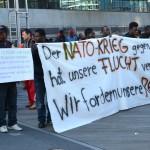 Demonstration von libyschen Flüchtlingen gegen ihre schlechte Behandlung