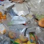 Lebensmittelentsorgung in einer Supermarkt-Mülltonne